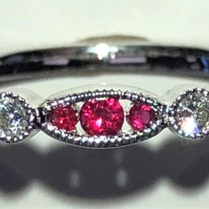Ruby & Diamond Stackable Band